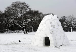 snow continues in uk:  a park in Merton