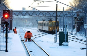 snow continues in uk: Monkseaton Metro station