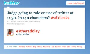 Esther Addley's tweet on the use of twitter.