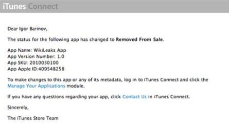 Igor Barniv's notification from Apple
