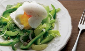 Celery salad with feta and soft-boiled egg