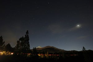Lunar Eclipse: The volcano Teide is pictured during a total lunar eclipse
