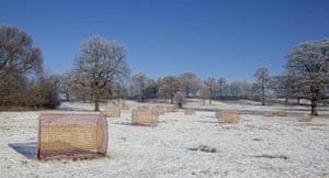 Yorkshire Sculpture Park: Summer Fields scupltures by Helen Escobedo at the Yorkshire Sculpture Park