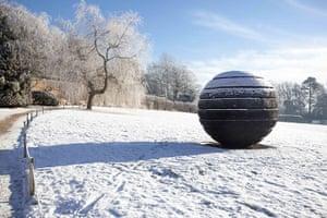 Yorkshire Sculpture Park: Black Sphere sculpture by David Nash at the Yorkshire Sculpture Park