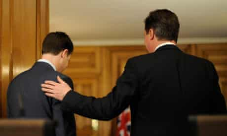 Nick Clegg and David Cameron at a joint press conference on 21 December 2010.