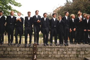 School Uniforms: A line of young students from Eton College in typical formal uniform
