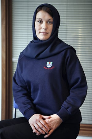 School Uniforms: A young woman models an officially approved School uniform Hijab