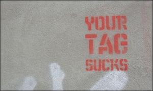 """""""Your tag sucks"""" in graffiti"""