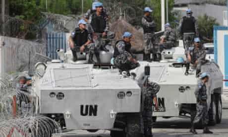 UN forces on patrol in Abidjan, Ivory Coast 21/12/10