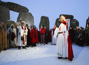 Winter Solstice: Druids take part in the winter solstice at Stonehenge in Wiltshire