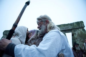 Winter Solstice: Chief druid congratulates fellow druids during the winter solstice