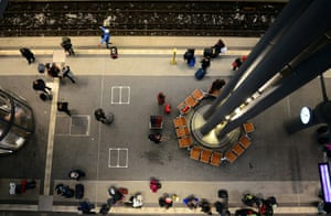 Travel Chaos: Travellers await a train at Berlin's main station