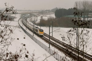 Travel Chaos: A Eurostar train travels towards the Channel Tunnel