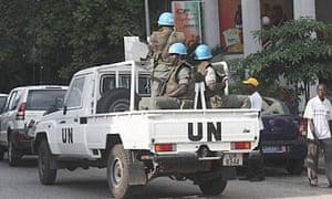 UN forces patrol a street in Abidjan, Ivory Coast