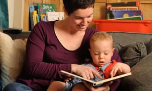 Writer Louise Tickle in 2009 with her son Sam, who benefitted from the Bookstart scheme.