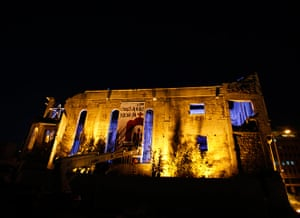 Christian in Middle East: The Mar Mansour Church is decorated with lighting in downtown Beirut