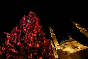 Christian in Middle East: A Christmas tree is seen in front of the Al-Amin mosque in downtown Beirut