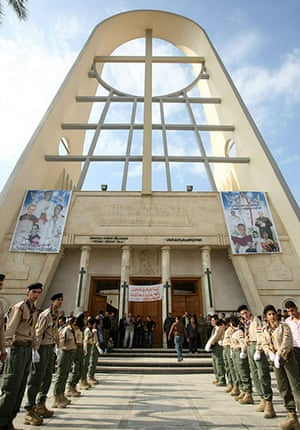 Christian in Middle East: Iraqi Christian scouts stand outside the Sayidat al-Nejat church