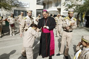 Christian in Middle East: Fuad Twal outside the Latin Catholic Church in Gaza City