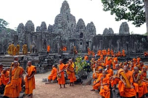 2010: year in pictures: Cambodian monks at the Bayon temple celebrate Buddha's birthday