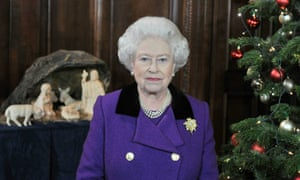 Queen Elizabeth II poses for a photo during the recording of her Christmas day speech