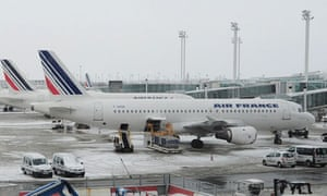 Air France planes parked at Charles de Gaulle airport