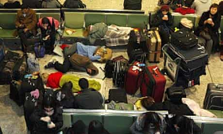 Some of the stranded air passengers who had to bed down in Heathrow's Terminal 3