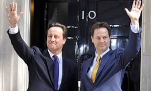 David Cameron and Nick Clegg outside 10 Downing Street on 12 May 2010
