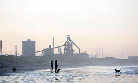 Corus Blast Furnace plant, which is currently being mothballed, viewed from Redcar beach