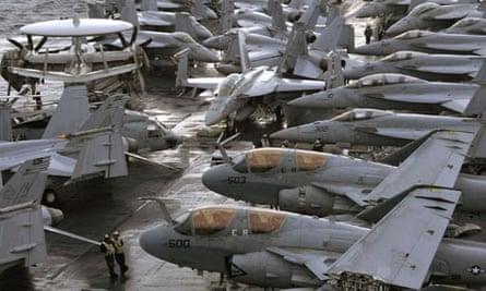 Military aircraft aboard USS George Washington