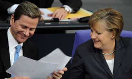 Guido Westerwelle and Angela Merkel