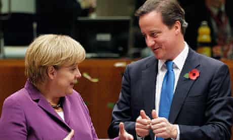 Angela Merkel and David Cameron at the EU summit