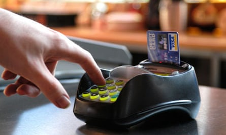 Paying with chip-and-pin machine