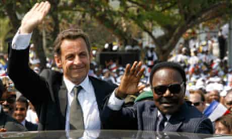 Gabon's President Omar Bongo and France's President Nicolas Sarkozy in Libreville, July 2007