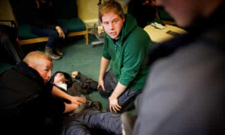 Medical students show young offenders in Wavertree, Liverpool how to give basic medical assistance