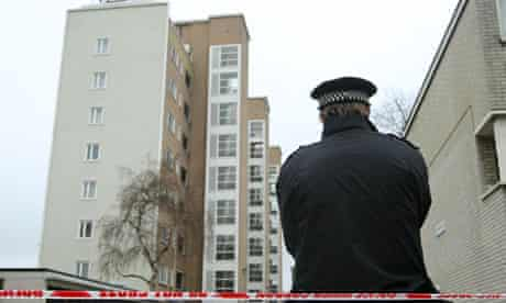 Police at the scene on the Pelican Estate in Peckham