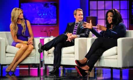 Oprah Winfrey (r) is interviewed on Your OWN Show, a talkshow on her new television channel