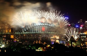 New Year Celebrations: Sydney, Australia:  Fireworks light up Sydney Harbour at midnight