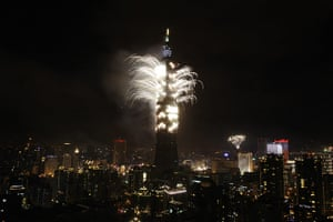 New Years: A firework display explodes off Taiwan's tallest skyscraper Taipei101