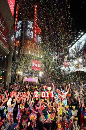New Years: Revellers take part in New Year celebrations in Hong Kong's Times Square