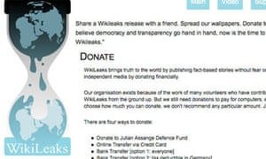 The donation page on WikiLeaks' website