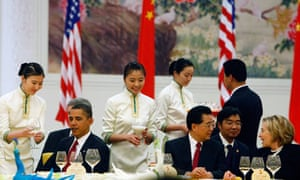 Barack Obama and Hillary Clinton at a state dinner in Beijing with the Chinese president, Hu Jintao