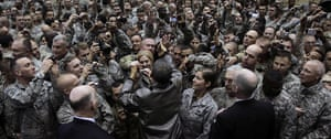 24 Hours: President Barack Obama greets troops during a rally in Afghanistan