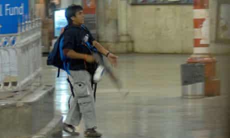 The terrorist Ajmal Amir Kasab in Mumbai during the 2008 attacks