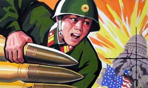 POSTER DEPICTING NORTH KOREAN MILITARY POWER DEFEATING US IS DISPLAYED IN PYONGYANG.