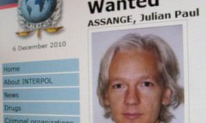 The web page for WikiLeaks founder Julian Assange