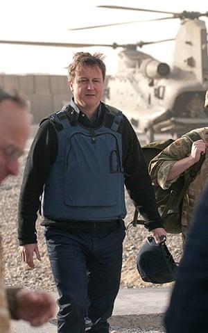 Cameron in Afghanistan :  David Cameron arrives at Lashkar Gah base