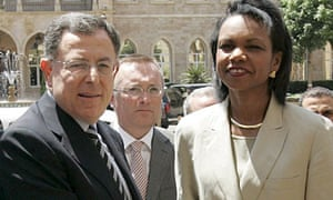 Lebanese prime minister Fouad Siniora with US secretary of state Condoleezza Rice in July 2006