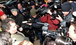 Mark Stephens, lawyer for WikiLeaks founder Julian Assange, outside Westminster magistrates court