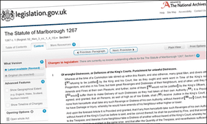Screengrab of the 1267 Statute of Marlborough as it appears on legislation.gov.uk